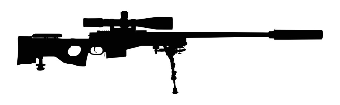 Vector illustration of a sniper rifle silhouette isolated on white background.