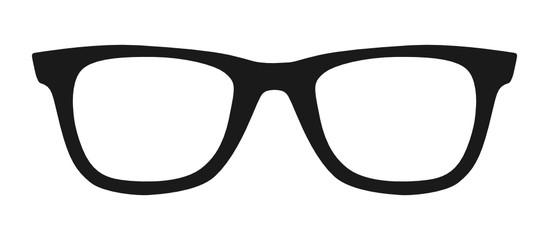 Vector illustration of hipster nerd style black glasses silhouette isolated on white background Fototapete