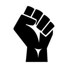 Vector illustration of the iconic protester raised fist isolated on white background - graphic style silhouette