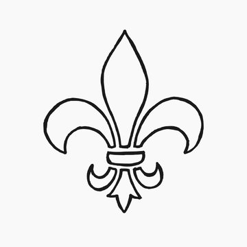 High quality hand drawn vector illustration of a fleur de lis (Lily) isolated on white background