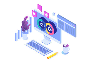 Devops concept. Application development, building.  API prototyping, programming and testing. Isometric Vector illustration