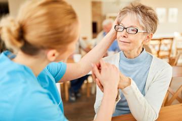Caregiver consoles seniors with dementia
