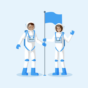 Astronauts planting flag flat vector illustration. Male and female smiling cosmonauts wearing spacesuits, waving hand cartoon characters. Another planet, moon landing isolated