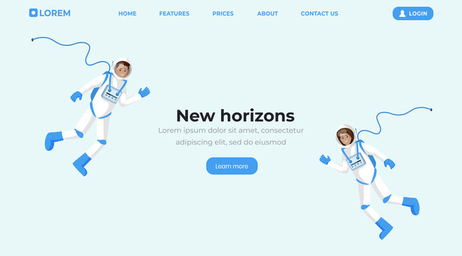 Space travel flat landing page template. Cosmonauts in spacesuits floating in zero gravity and waving hands cartoon vector characters. Space mission, universe exploration web banner