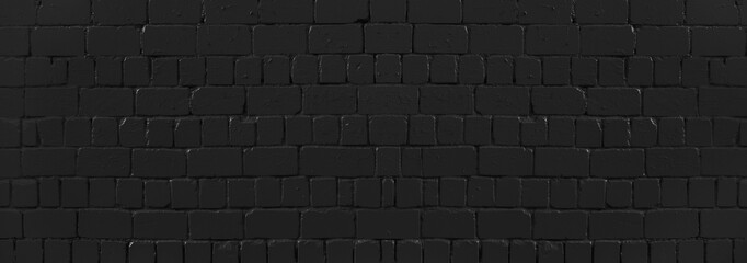 Fotobehang - Panoramic texture of black old brick wall, brickwork background for design or backdrop