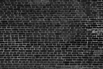 Fotobehang - Old vintage black brick wall texture for background, wide panoramic backdrop