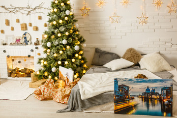 Square canvas in interior. Mock up poster. Christmas and New Year concept.
