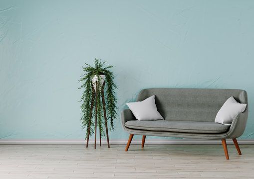 Sofa with flower. 3d rendered illustration