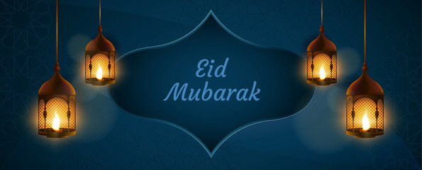 Eid Mubarak banner with candles on blue background and decoration pattern. Vector islamic illustration