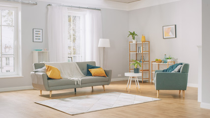 Shot of a Bright Cozy Modern Apartment with Big Windows, Decorations and Stylish Furniture. Wall mural