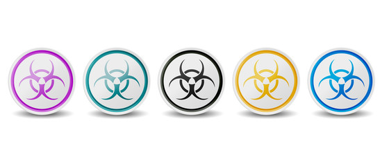 Biohazard Symbol Buttons - Different Colors - Vector Icons Isolated On White Background