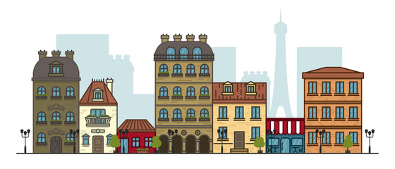 Flat linear panorama of the city landscape with buildings and houses. tourism, travel to Paris Vector illustration