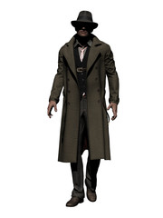 Detective in Trench Coat walks along 3d-Illustration