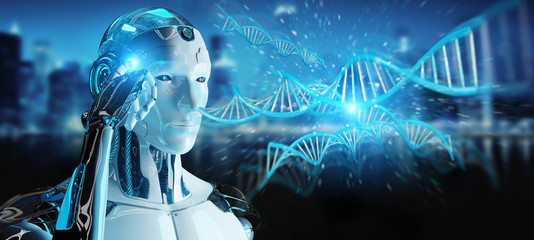 White male cyborg scanning human DNA 3D rendering