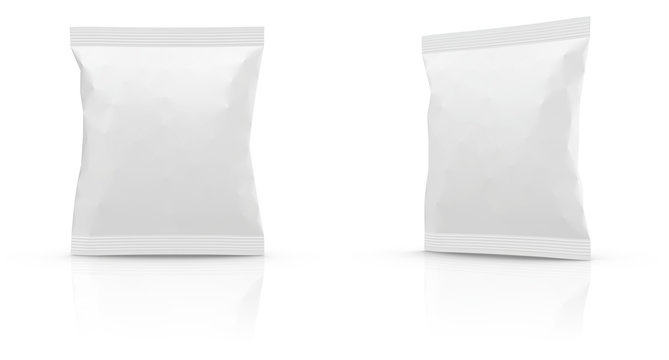 Realistic Blank Mock-up Bag isolated on white background. 100x120mm.