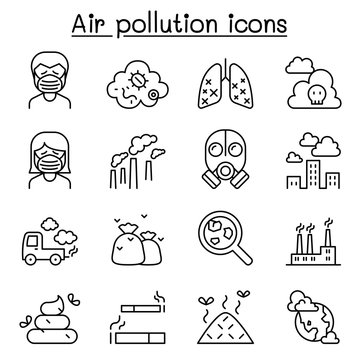 Air pollution icon set in thin line style