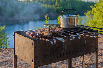 Barbecue skewers with meat and kettle for boiling water on a metal grate over a brazier flame. Tourist campsite in the sunny summer forest near lake.
