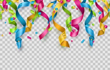Colorful confetti and streamers