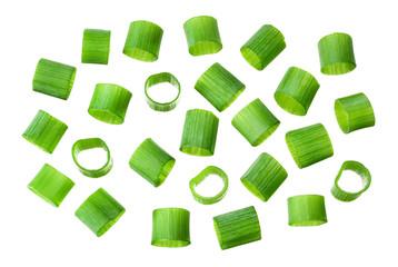 Fototapeta Chopped fresh green onions. Green cut onion isolated. obraz