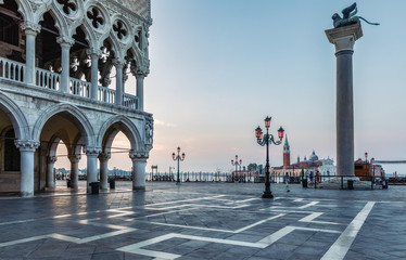 Fototapete - Doge's Palace and San Marco in Venice at sunrise. Scenic travel background.