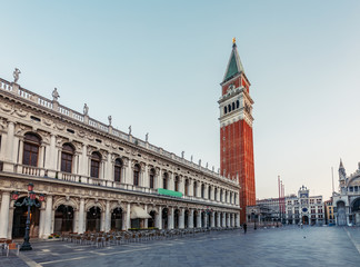 Fototapete - Campanille in Venice at sunrise. Scenic travel background.