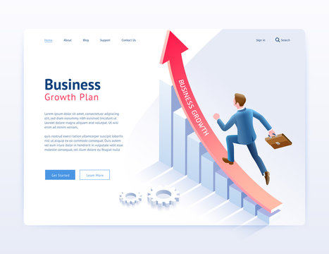 Business growth plan website UI/UX design. Businessman running on red arrow and infographic isometric elements.