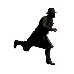 Running Man with Trenchcoat 3-D-Illustration