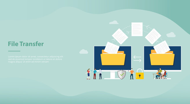 file transfer concept with folder and files transfering move with team people for website or landing homepage template design - vector