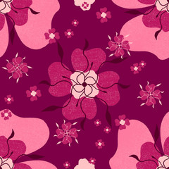 Cerise Pink Rose Floral Textured Seamless Pattern