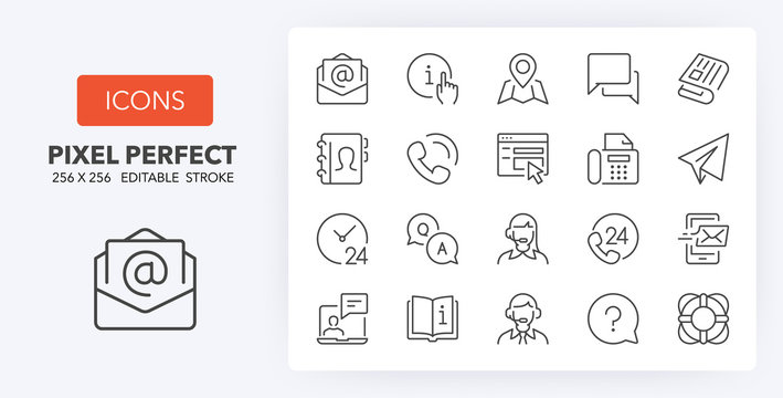 contact and support line icons 256 x 256