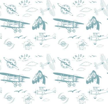 aviation pattern blue seamless monogram retro vintage