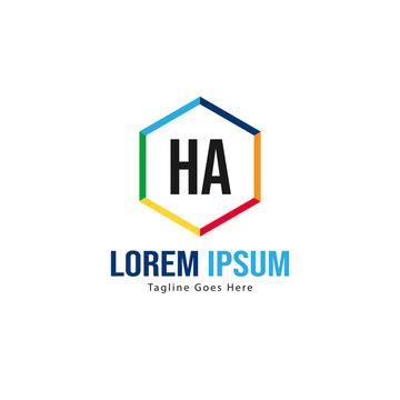 Initial HA logo template with modern frame. Minimalist HA letter logo vector illustration
