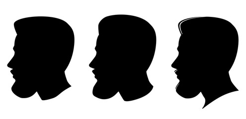 Set of three male profile portrait silhouette. Caucasian Man with beard hipster. Vector illustration.