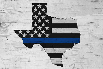 American thin blue line flag on map of Texas