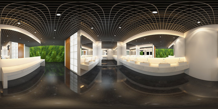 3d spherical 360 degrees,panorama of the toilet and interior design (3D rendering)