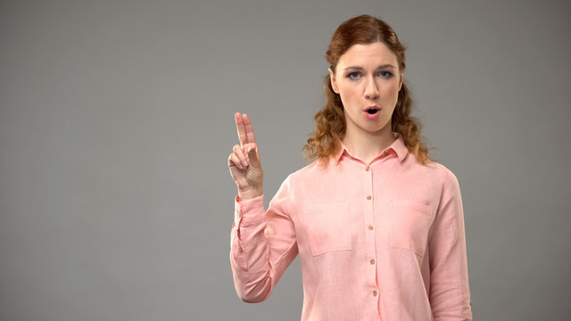 Deaf woman saying no in sign language, teacher showing words in asl, tutorial