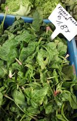 Frischer Spinat aus eigenem Anbau auf dem Markt.