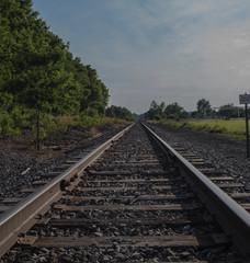Wall Murals Railroad railway leading into he blue sky