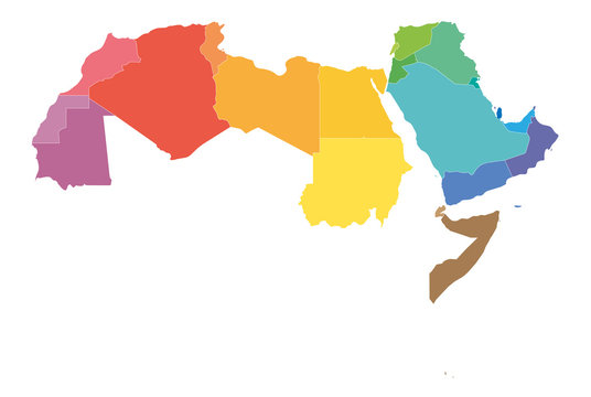 Arab World states political map with colorfully higlighted 22 arabic-speaking countries of the Arab League. Northern Africa and Middle East region. Vector illustration