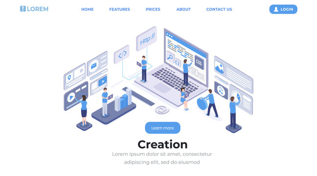Software creation landing page isometric template. App programming and coding, website development and optimization studio team working web banner layout. Programmers and developers 3d characters