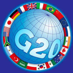 G20 global summit of industrialized countries, global symbol with flags, vector illustration