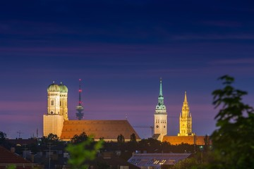 Munich Cathedral or St. Mary's Church, St. Peter, City Hall Tower and the Olympic Tower at night, Munich, Bavaria, Germany, Europe