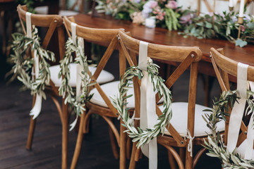 Boho wedding table for a newlywed banquet.