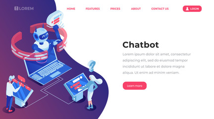 Chatbot isometric landing template page. Online customer support robot, help service, people chatting with bot app website vector layout. Artificial intelligence 3d concept illustration