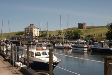 Eyemouth harbour, boats & buildings, Berwickshire