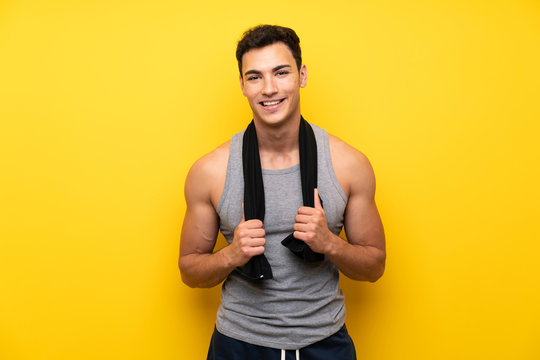 Handsome sport man over isolated background