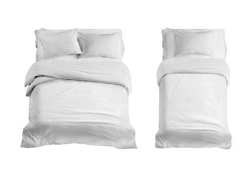 Two white beds top view isolated