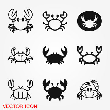 Crab vector icon. crab sign on background