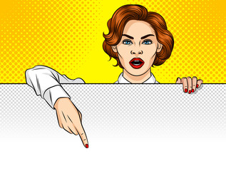 Color vector illustration of a pop art style of a girl peeking out from behind a white sheet. A woman points her finger to the board. Beautiful girl holding a poster with empty space for text.