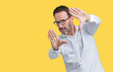 Handsome middle age elegant senior business man wearing glasses over isolated background Smiling doing frame using hands palms and fingers, camera perspective